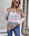 Sunygal Womens Long Sleeve Striped Color Casual Pullover Hoodie Sweatshirt Knit Tops