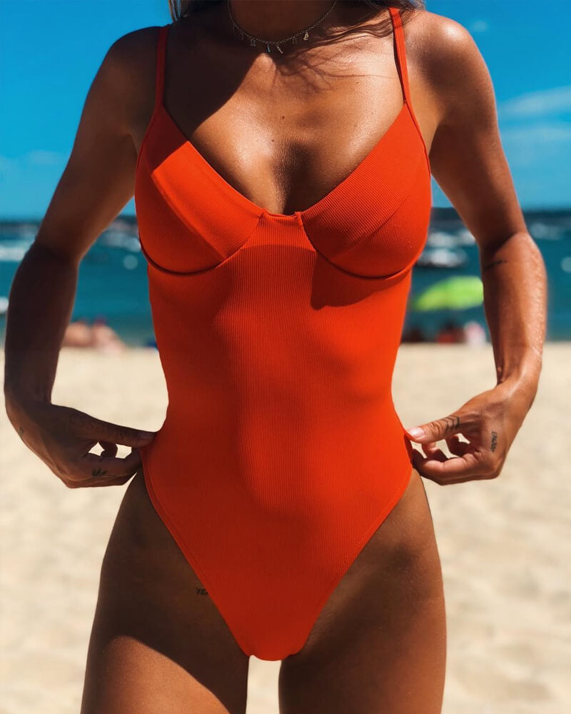 Solid Moulded Cups One-Piece Swimsuit
