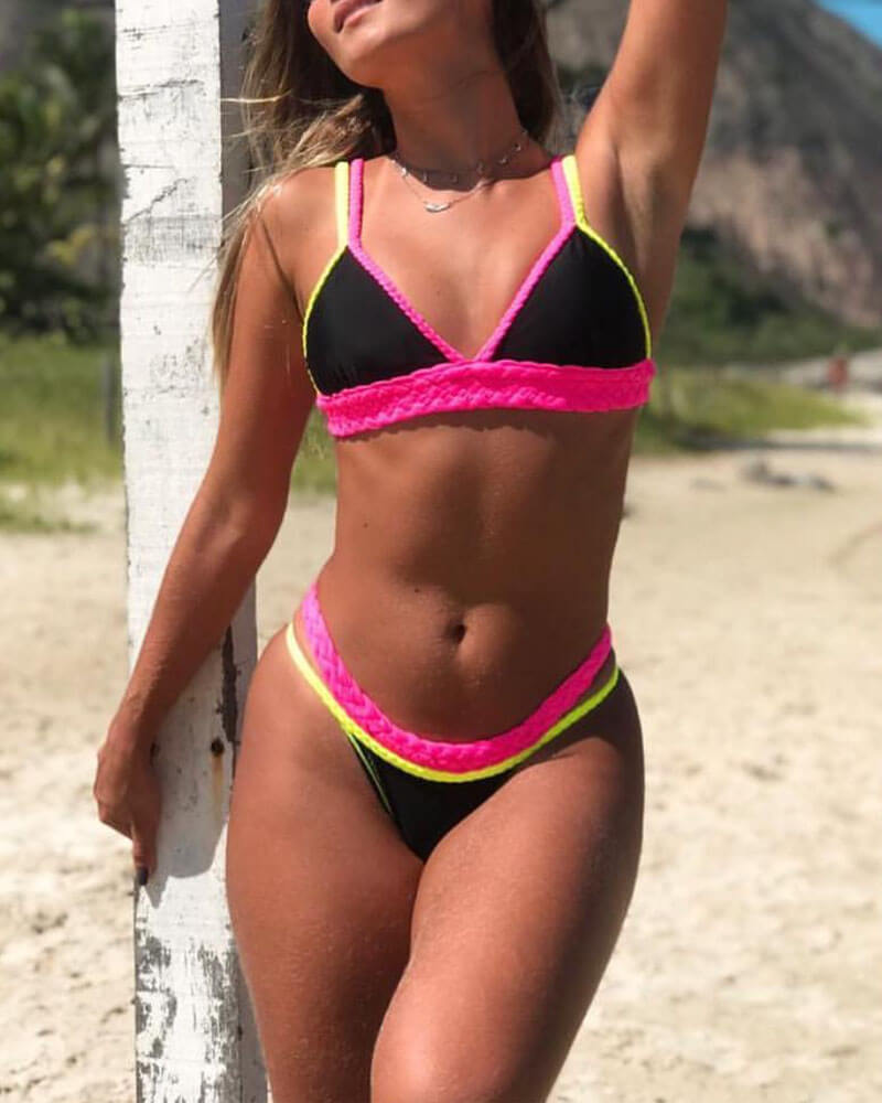 Color Black Braided Bikini Set