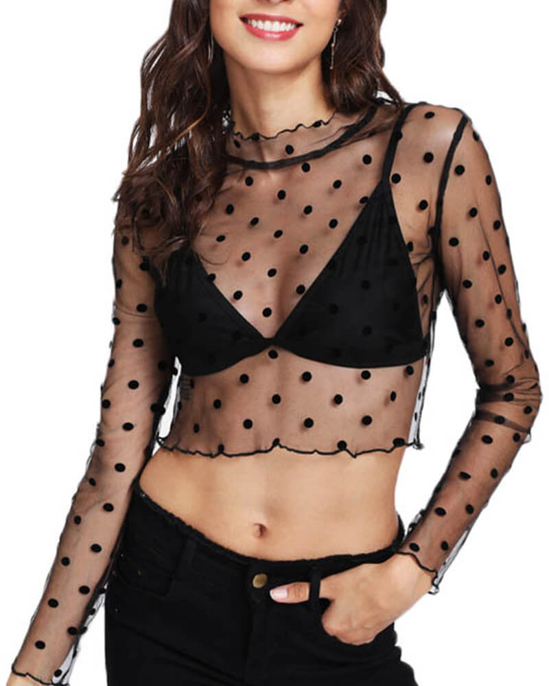 Flocked Classical Dot Mesh Top
