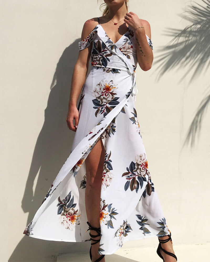 Off Shoulder Long Slip Dress