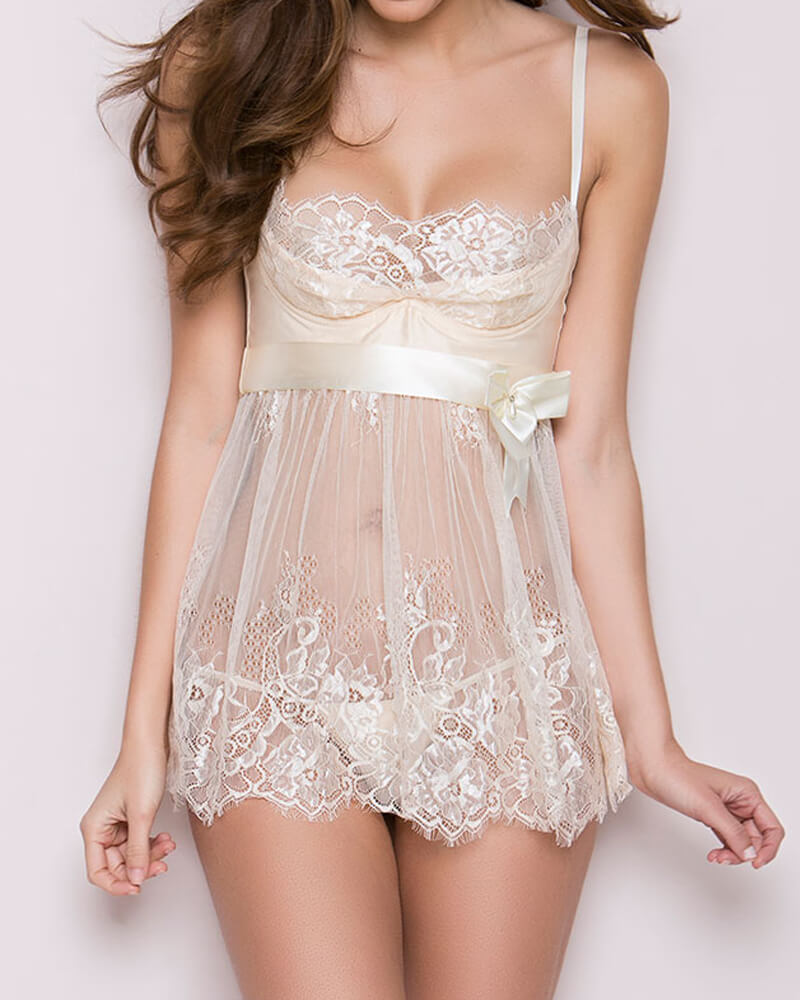 White Lacy Eyelash Lace babydoll