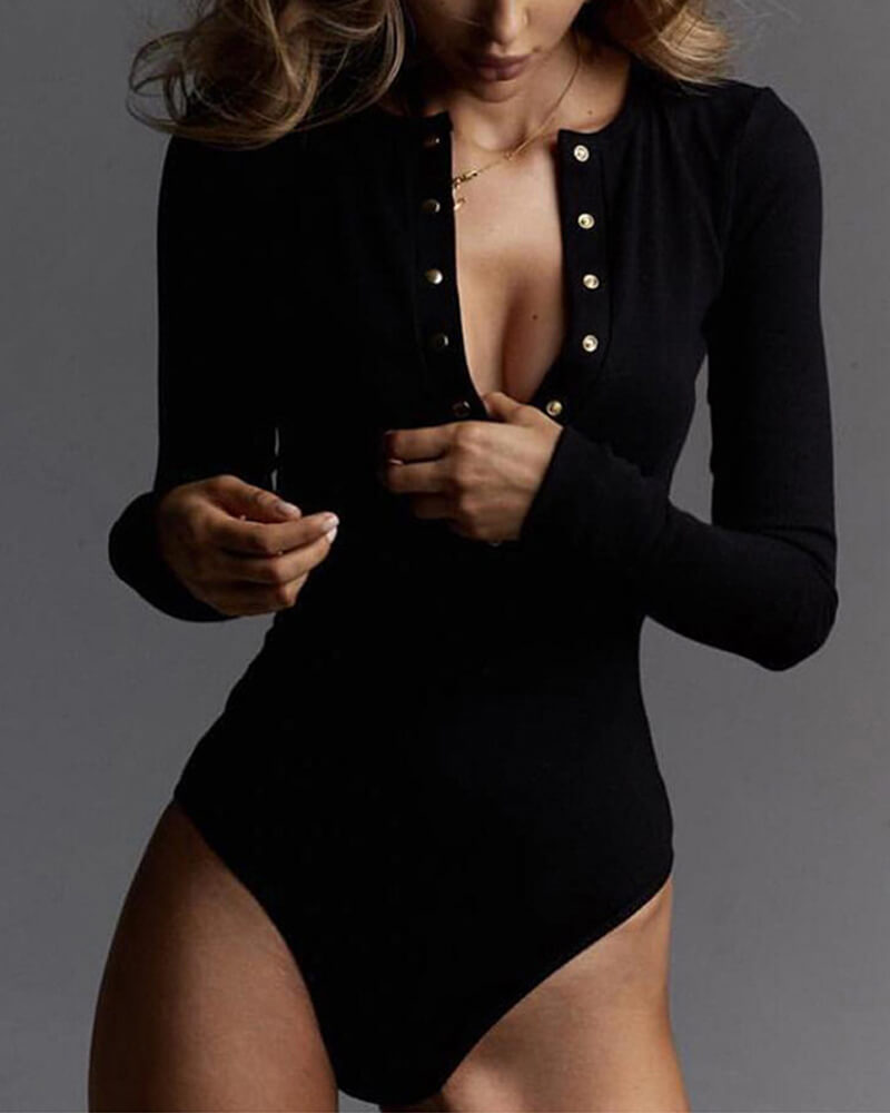 Solid Long Sleeve Button Romper