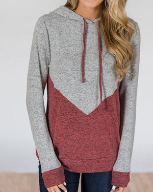 Hoodied Splicing Color Sweatshirt