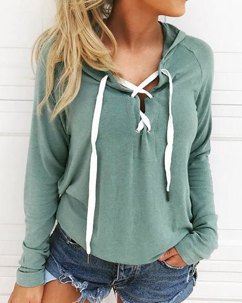 Solid Lace Up Sweatshirt