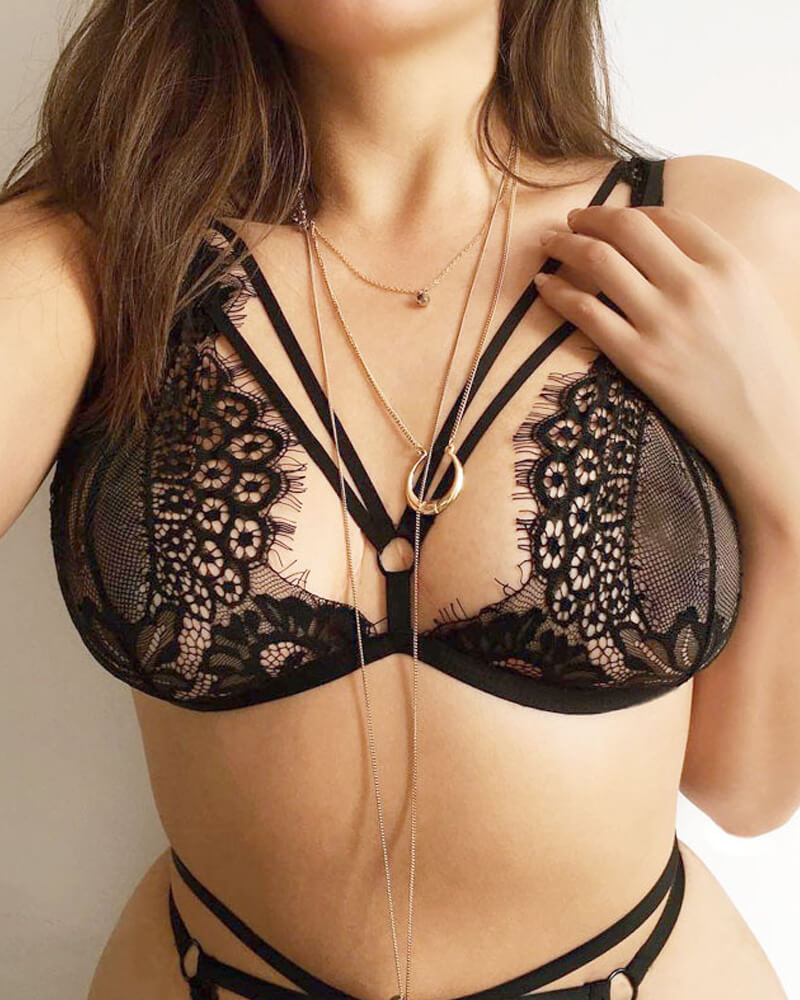 Black Translucent Lingerie Set