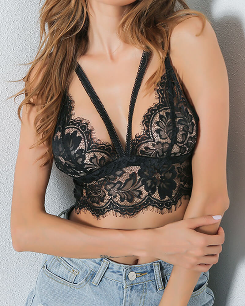 Black And White Eyelash Lace Bralette