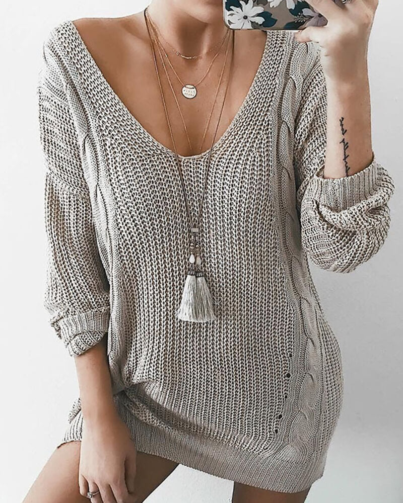 V-neck Cable Knit Sweater Dress
