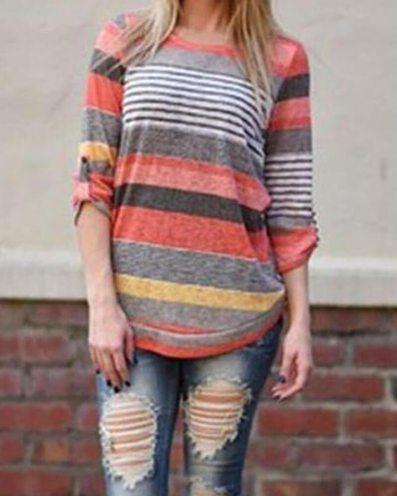 Unbranded Striped Casual Style T-Shirt Top
