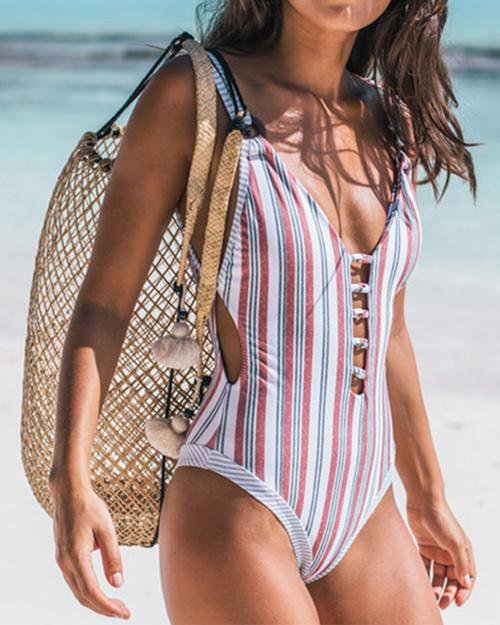 Magic Stripe Tie-Dye One-Piece Swimsuit