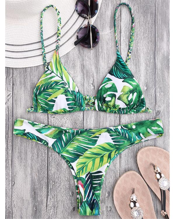 Lace Up Fresh Leaves Print Bikini Set
