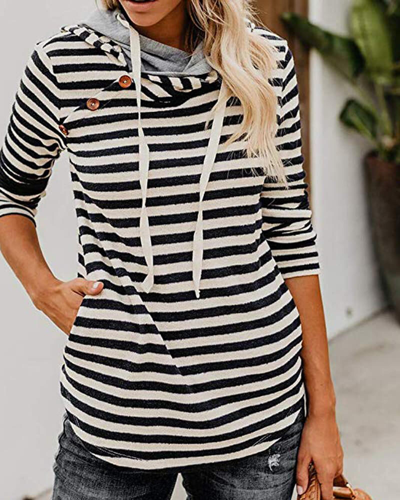 Striped Button Hoodie Sweatshirt