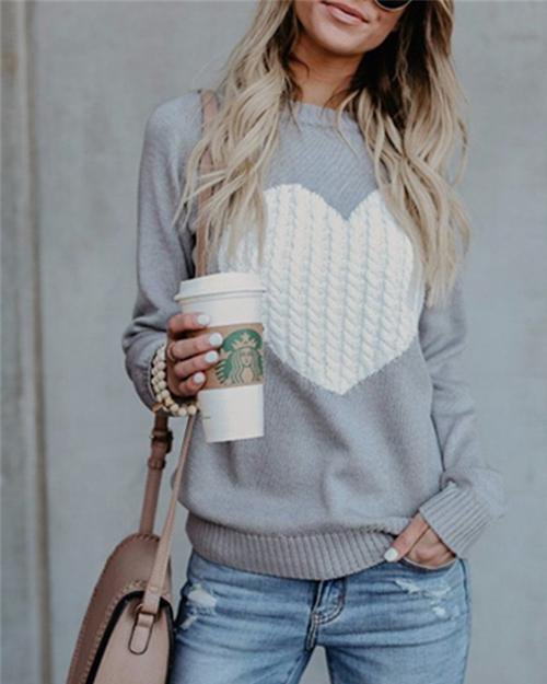 Sunygal Simple Love Shape Sweater