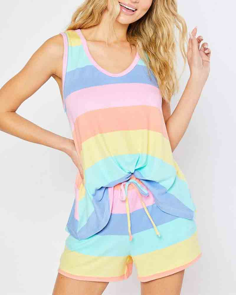 Stripe Sleeveless Drawstring Suit