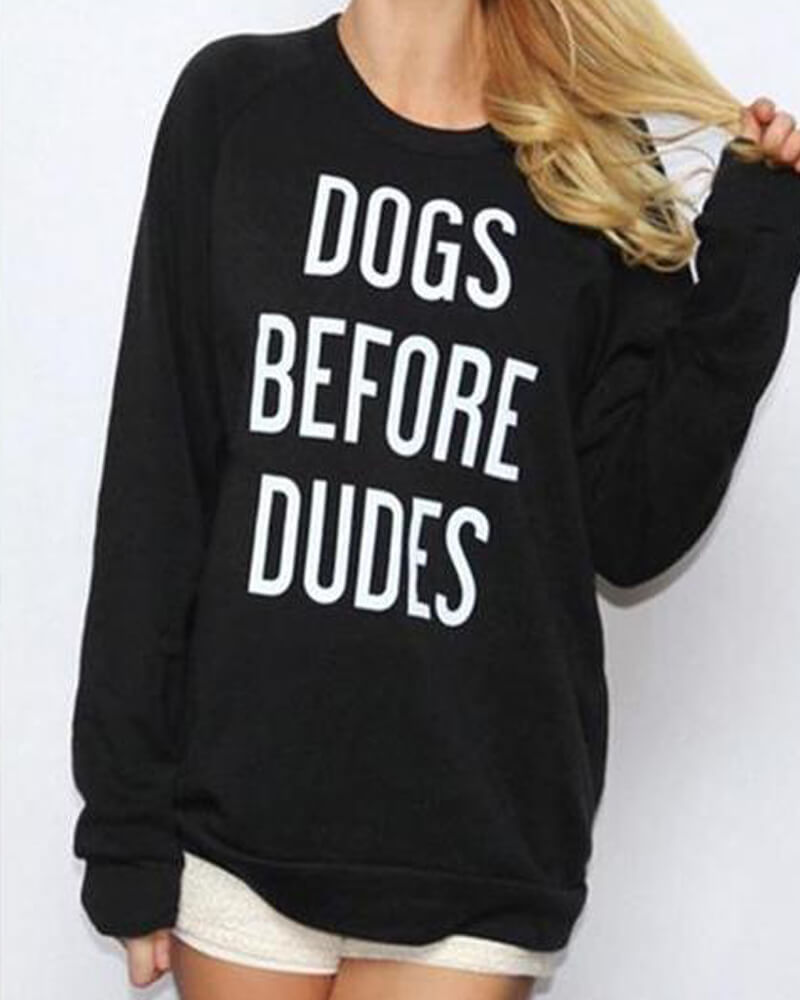Black Round Neck Letter Print Long Sleeve Sweatshirt