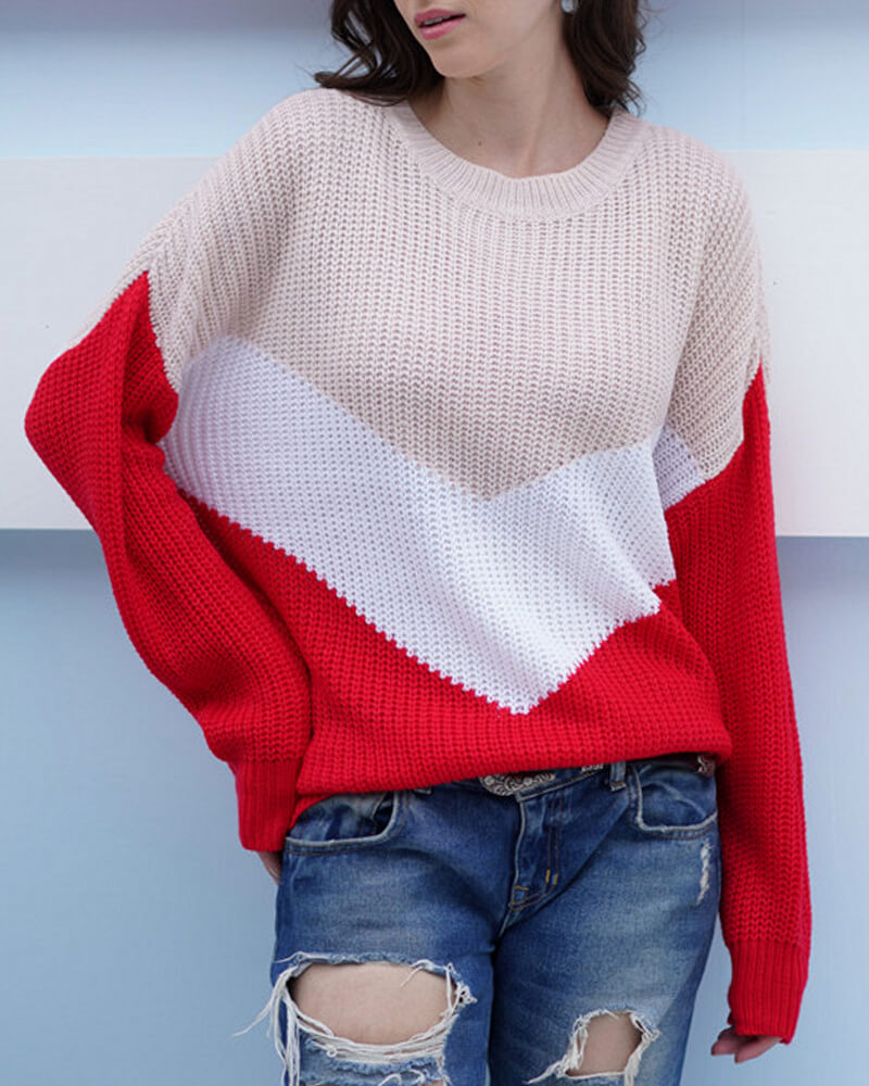 Three-color Patchwork Loose Knit Sweater