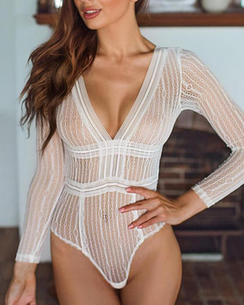 Hollow Long Sleeve One-Piece Lingerie Set