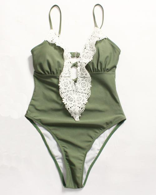 Vintage Lace One-Piece Swimsuit
