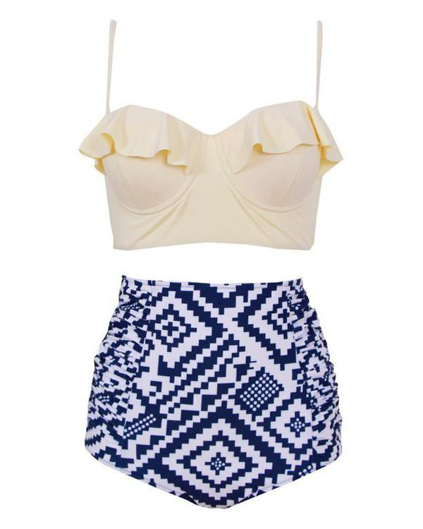 Bottomless Sea High-Waisted Bikini Set