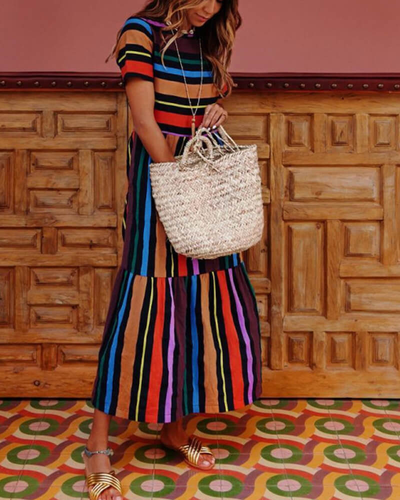 Color Stripes Long Dress