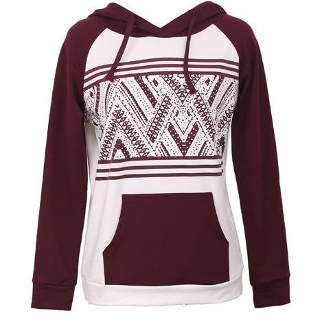 Geometric Print Wine Hooded Sweatshirt