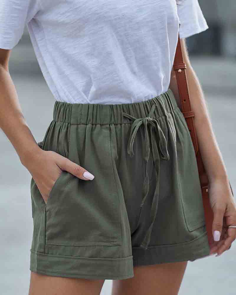 Elastic Waist With Pockets Short Pants
