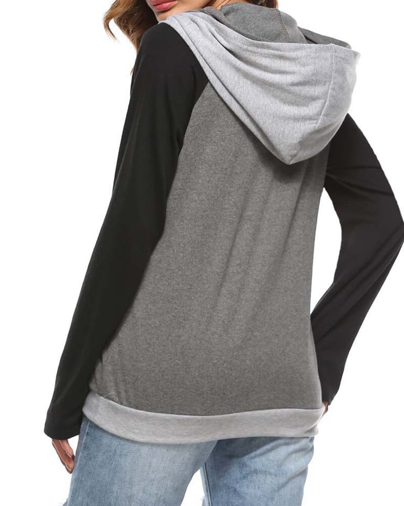 Splicing Color Hooded Casual Sweatshirt