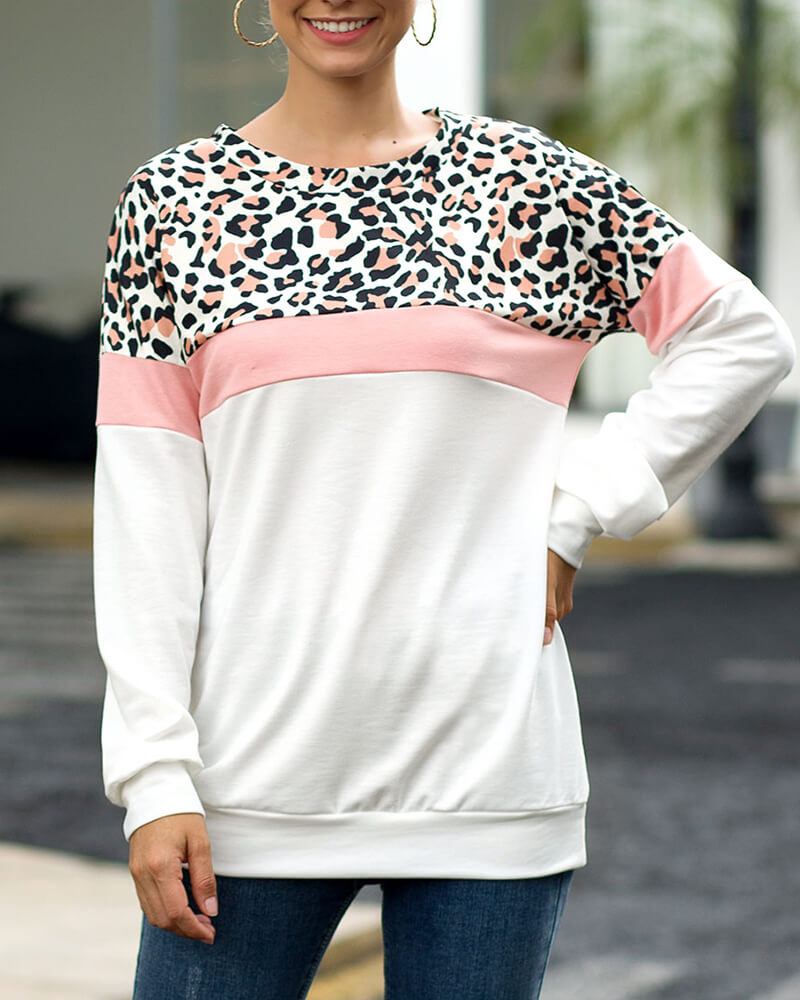 Leopard Print Long-sleeve Pullover