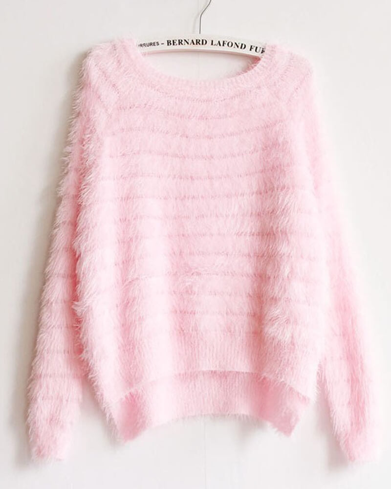 Mohair Detail Pullover Long Sleeve Sweater