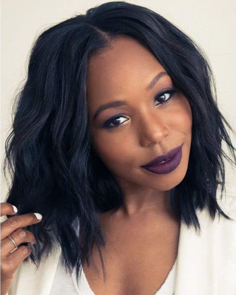 Natural Fluffy Short Black BOBO Wavy Wigs