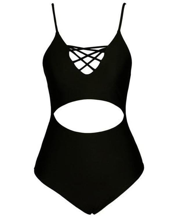 Lace Up One-Piece Bikini Swimsuit