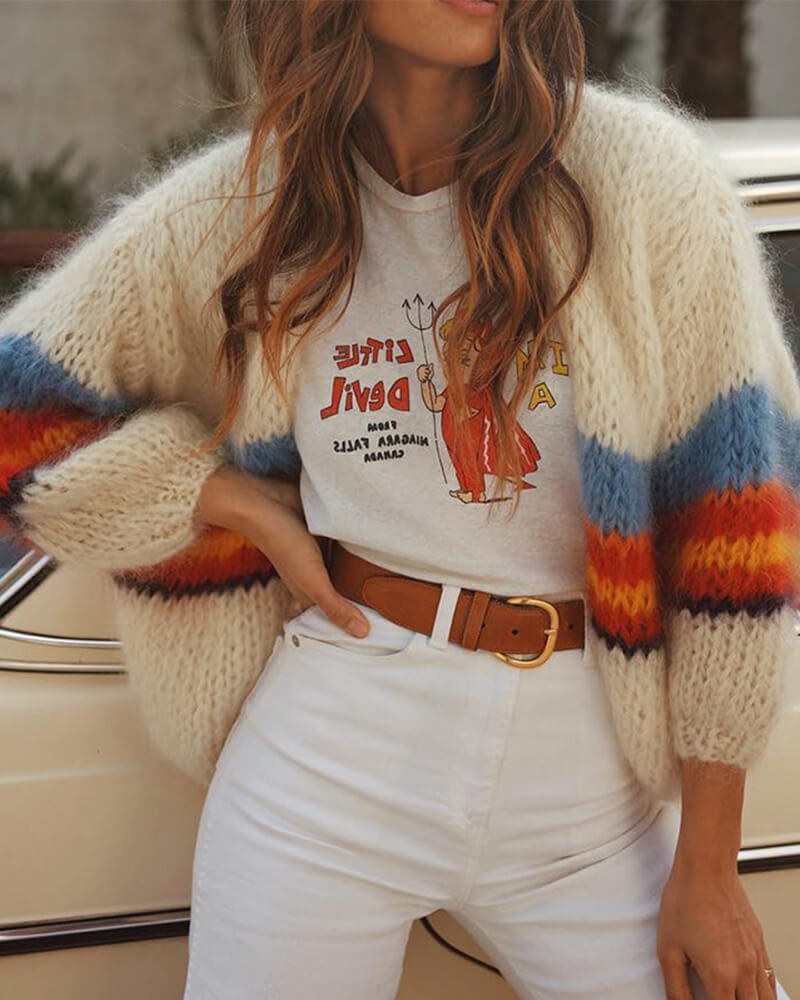 Color Striped Long Sleeve Knit Cardigans