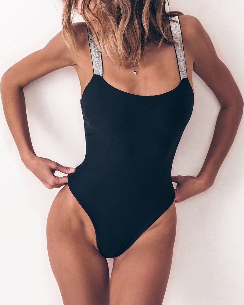 Flicker Shoulder Straps One Piece Swimsuit