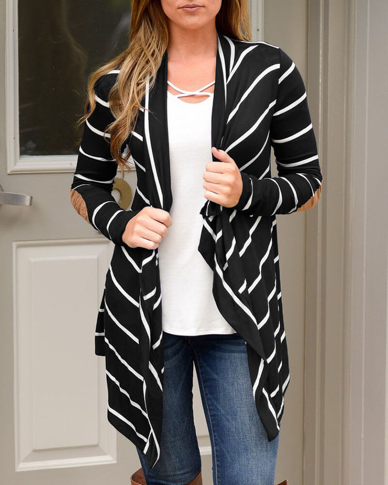 Stitching Horizontal Stripe Cardigan