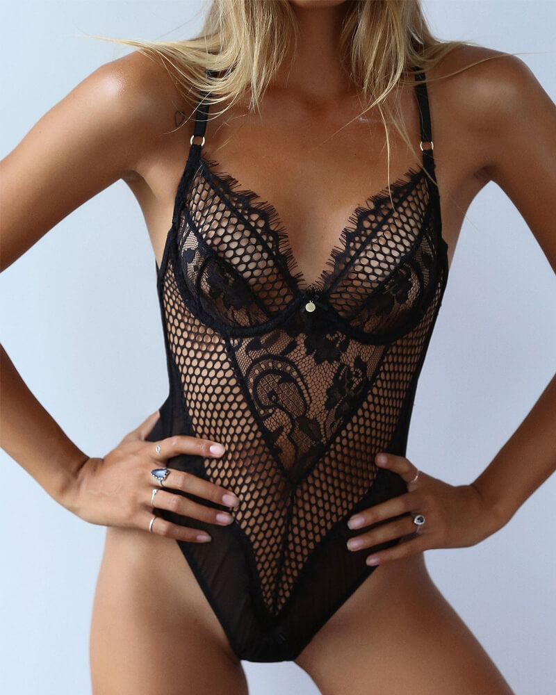 Black And White Lace Mesh Teddy Lingerie
