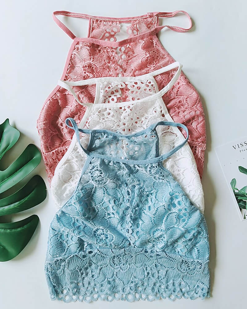 High Neck Lace Keyhole Bralette