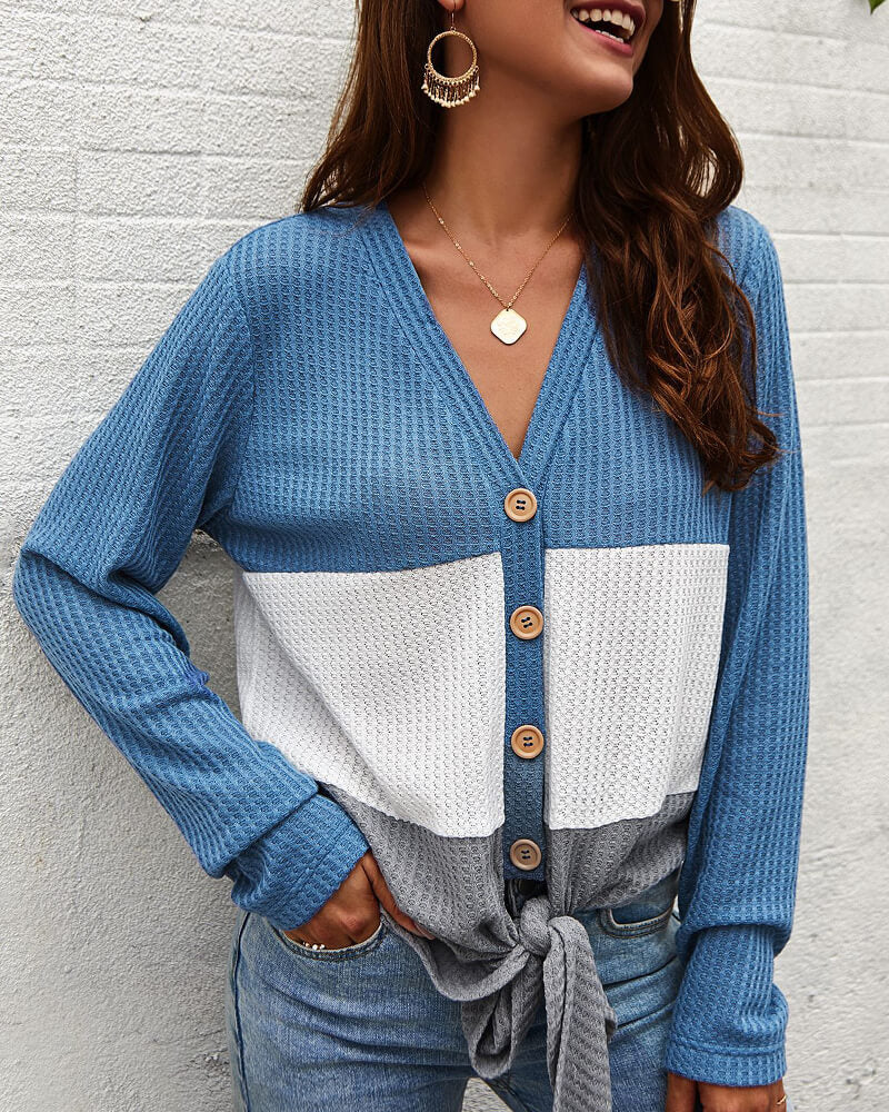 Patchwork Knot Button Tops