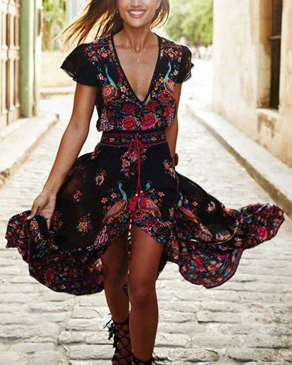 V-Neck Located Print Dream Dress