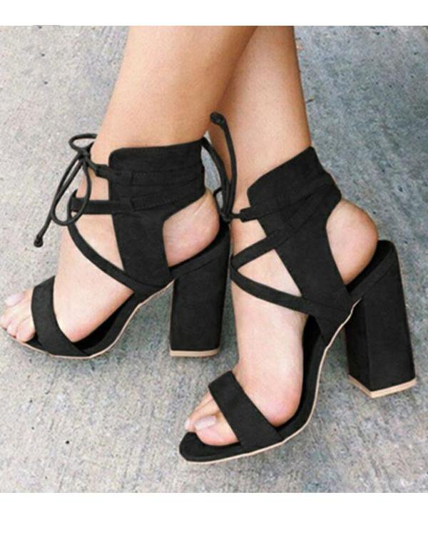 Sunygal lace Up  Faux Suede Chunky Heels