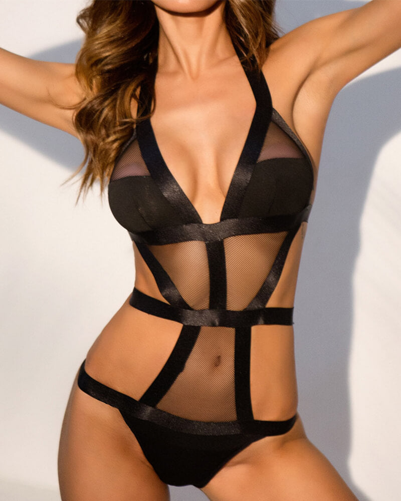 Hollow Deep V One-Piece Lingerie Set