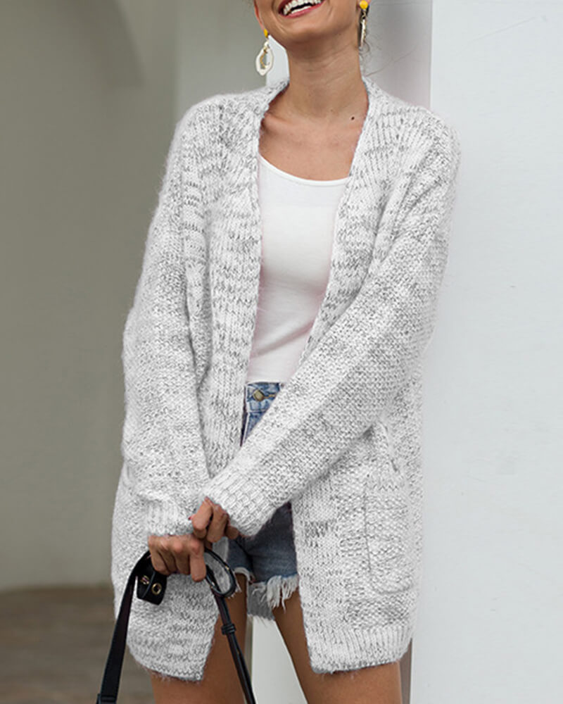 Open-Front Pockets Cardigan