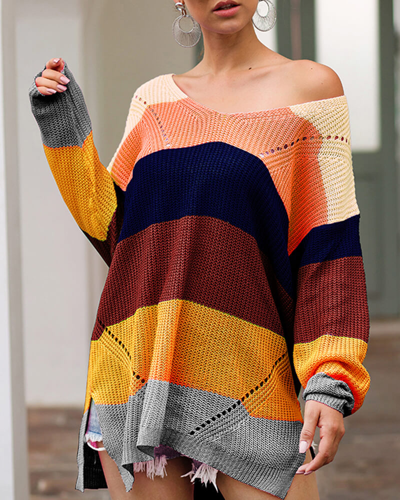 Rainbow Color Loose Pullover