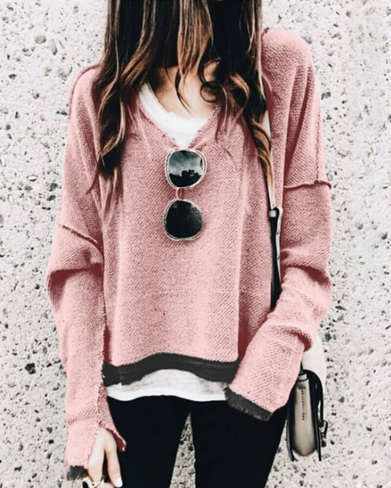 Patchwork Long Sleeve Sweatshirt