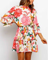 Tiered Sleeve Floral Print Pleated Dress