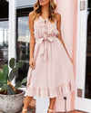 Hollowed-out Sleeveless Fringed Long Dress