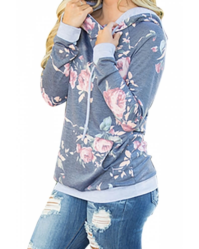 Rose pattern Navy Hooded Sweatshirt