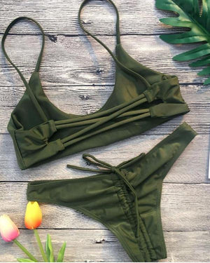Lace Up Method  of Gathers Bottom Bikini Set