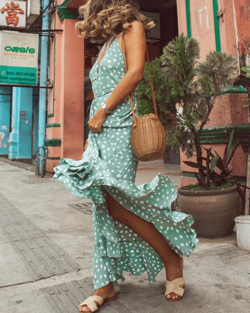 Dot Ruffled Maxi Slip Dress