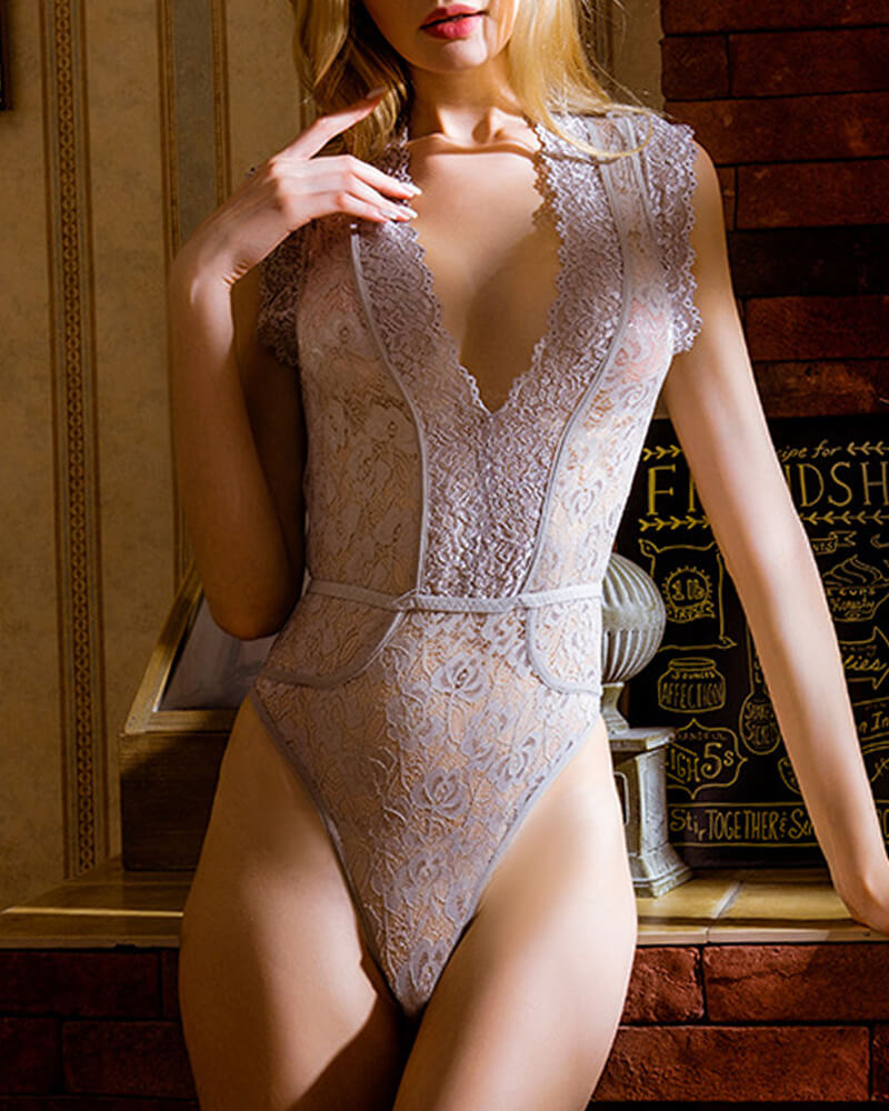 Lace Triangle Bodysuit Jumpsuits