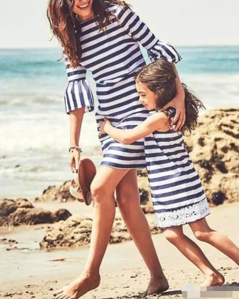 Stripe Print Matching Dress